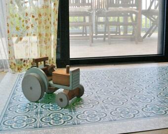 Vinyl Floor Mat, Area Rug, Linoleum Rug, Printed PVC Carpet With Floral  Tiles