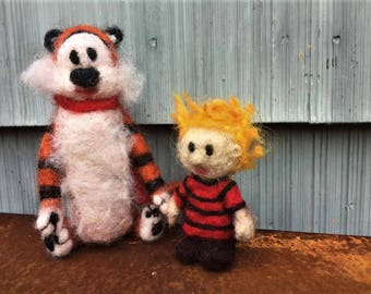 Calvin and Hobbes set,Felted,Needle Felted,Handmade,Limited Edition,For Display,Storytelling,Waldorf-inspired,Montessori