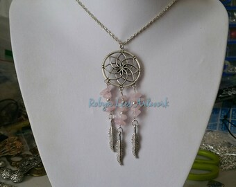 Large Statement Silver Dreamcatcher with Rose Quartz Crystal Chip Beads & Silver Feather Charms on Silver Chain, Black Cord or Braided Cord