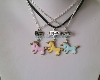 Pink, Yellow & Blue Resin Unicorn Best Friends Forever Charm Necklace Set of 3 Necklaces on Silver Crossed Chain or Black Faux Suede Cord