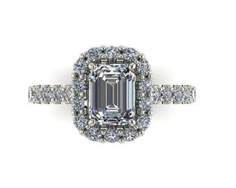 Contemporary Moissanite Engagement Ring, 8x6 Emerald Cut Forever One, 18K White Gold, 30 ethical Diamond