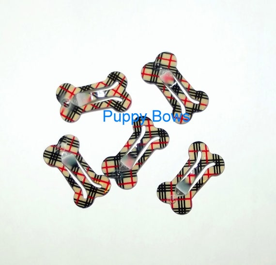 Puppy Bows ~ Pawberry brown plaid dog bone pet hair snap clips 5 burrific bow snaps