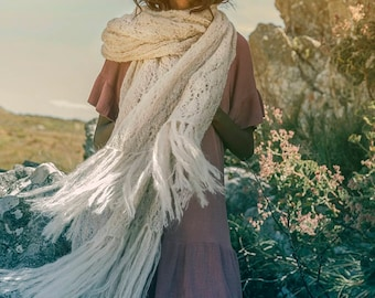 Mohair Knitwear Maxi Lace Shawl with Fringes