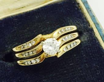 Vintage 1/4 Carat Diamond 14K Gold Three Band Channel  Set Diamond Wedding Ring - Size 7.75 -  3.7 Grams