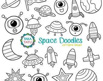 Space Doodles Digital Stamp - Black and White Clipart / Kids Clipart / Alien Clipart / Printable for Kids / Cute Alien / Rocket Clip Art
