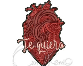 MACHINE EMBROIDERY DESIGN - Heart Te quero