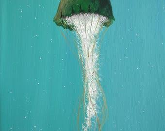 "Jellyfish Painting - Royal Jellyfish: 9"" x 12"" Original"