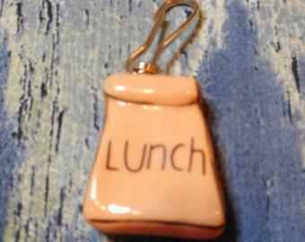 Lunch Bag Charm Zipper Pull Charm Purse Charm Lanyard Charm Keyring Charm