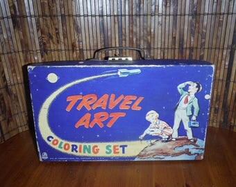 Vintage 1940's Child's Painting Set - '40's Travel Art Coloring Set Child's Paint Box - Vintage Hasbro Child's Water Color Paints & Brushes