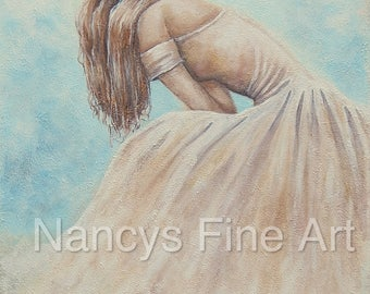 Beautiful woman in gown original painting print, cottage chic pretty lady wall art on canvas, lady artwork by Nancy Quiaoit