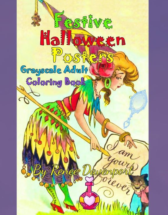 PDF Instant Download of Festive Halloween Posters Grayscale Adult Coloring Book 40 pages
