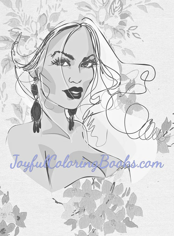4 Adult Grayscale Coloring Pages Buxom Women Set 1