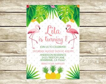 Flamingo and Pineapple Birthday Invitation, Flamingo Birthday Invitation, Printable Invitation, Pineapple Birthday Party, 023