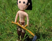 Handmade Felt Art Doll Scything Poldark