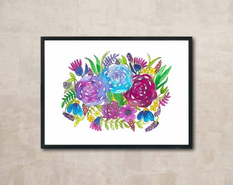 PRINT Floral Bouquet with Roses