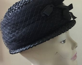 Black Straw Cloche Hat Size Medium
