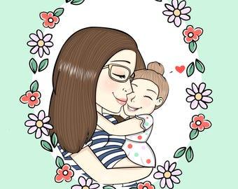 Custom Portrait DIGITAL FILE ONLY, Family Portrait, Custom Illustration, Personalized Gift, Couple Portrait