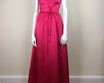 House of Bianchi fuchsia pink satin formal dress w/ bolero jacket 80s