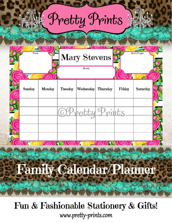 Family Calendar - Family Planner - Desk Calendar - Floral - Pink - 11 x 17 - Personalized Pad - Preppy