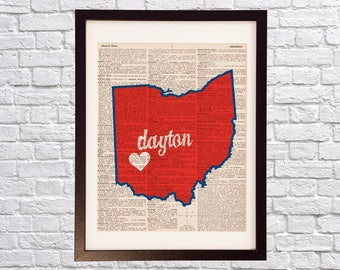 University of Dayton Dictionary Art Print - Dayton Ohio - Print on Vintage Dictionary - Ohio Map Print - Gift For Him or Her - Dayton Flyers