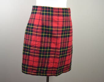 Red tartan plaid skirt - 1980s career skirt - vintage flannel skirt - large flannel skirt