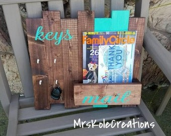 Key Holder, Mail Holder, Key and Mail Organizer, Rustic Home Organization Decor, Wood Mail Box