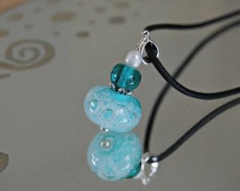 Handmade Lampwork Glass pendant * bubbles * of water/white, Freshwater Pearl murano glass pendant, necklace green murano glass sea green