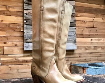 Vintage Frye Tall Boots Vtg Tan Leather Cowboy Boots Made in USA Women's Size 5 1/2