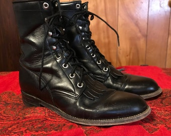 Justin Lace Up Roper Boots/Women's 8.5 C/Black Smooth Leather/1980s 90s/Western/Granny/Combat/Removable Kiltie/Riding/Biker/Horseback