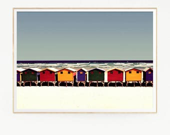 Printable Beach Sea Blue Waves Art Wall Decor Print Poster Tropical Beach Marine Retro Vintage Colour Photo Sand Houses Bath Spa Water 1024