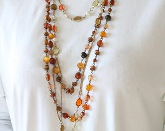 Set of 2 Brown Beaded Necklaces - Long Wrap Bead Necklace