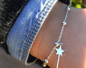 Bracelet with chain with aluminum beads and magic wand pendant in 925 silver