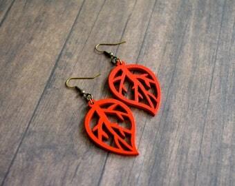 Wood Leaf Earrings, Red Wood Earrings, Dangle Earrings, Gift Under 20 Dollar, Gift For Her, Bohemian Earrings, Woodland Earrings, Boho