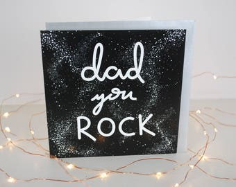 Dad, You Rock Card // Father's Day, Dad, Pointillism, Hand-lettered, Space, Stars