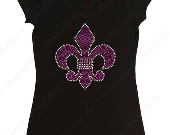 "Women's Rhinestone T-Shirt "" Purple Fleur de Lis "" in S, M, L, XL, 2X, 3X"
