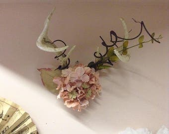 Decorative Antler Wall Hanging - Pink Flowers