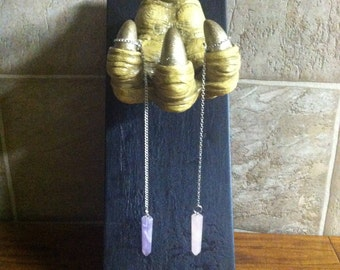 Amethyst Divination Pendulum, on Chain, with Storage Pouch