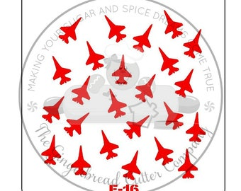 F-16 Fighting Falcon Background Cookie Stencil