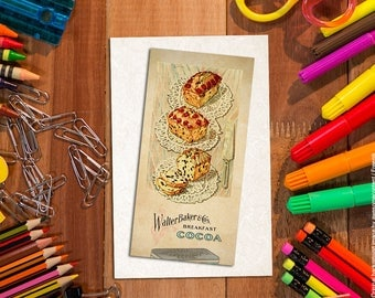 Shabby chic food bookmark. Paper bookmark. Bakery art. French bakery patisserie. Food art print. Vintage food illustration. Vintage images