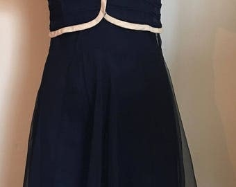 Lovely 1930's Midnight Blue Silk Chiffon Evening Dress with Jacket/Spaghetti Straps/Bias Cut