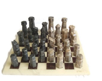Italian Chess Set, Chiellini Stone / Marble, Chess Set, Chess Board and Pieces, Hand Crafted, Complete Set