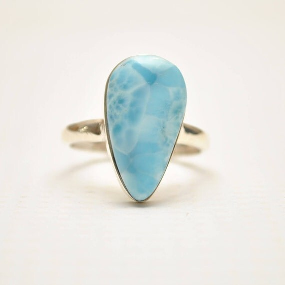 Sterling Silver Larimar Teardrop Ring Sz 8.75 #9344