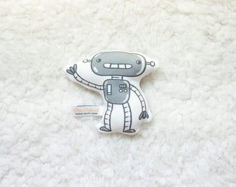 Organic Robot 2 Rattle / Pillow - Baby Toy / Baby Gift / Teething Toy / Plushie / Stuffed Animal / Organic Baby Toy