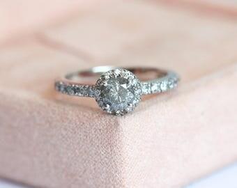 Grey Diamond Ring, Grey Diamond Engagement Ring, Brilliant Cut Diamond Ring, Halo Diamond Ring, Halo Engagement Ring, Pave Engagement Ring