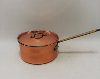 Vintage Copral Copper Sauce Pan With Brass Handles