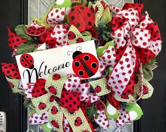 Summer Wreath, Spring Wreath, Lady Bug Wreath, Wreath for Summer, Deco Mesh Wreaths, Front Door Wreath, Door Hanger, Wreath for Door