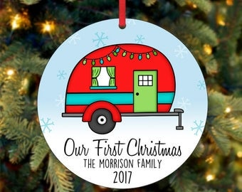 Our First Christmas Ornament, RV Ornament, Family Christmas Ornament, Custom Ornament, 2017 Ornament, Snow Ornament (0032)