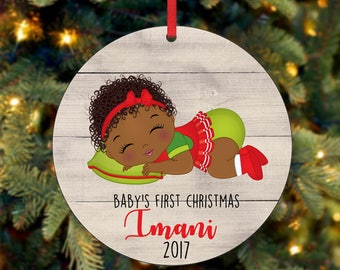 Baby's Girl First Christmas Ornament, Personalized Christmas Ornament, Custom Ornament, African American Christmas Ornament (0045)