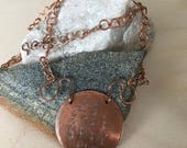 Copper necklace - Large round pendant - Asian Inspired - Link necklace - Handmade - 21 inch necklace