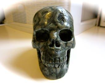 Green Brecciated Jasper Crystal Skull Carving 63mm 190g